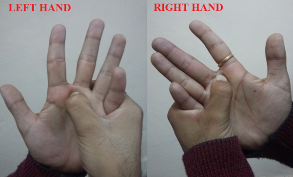 Acupressure points between index and middle finger